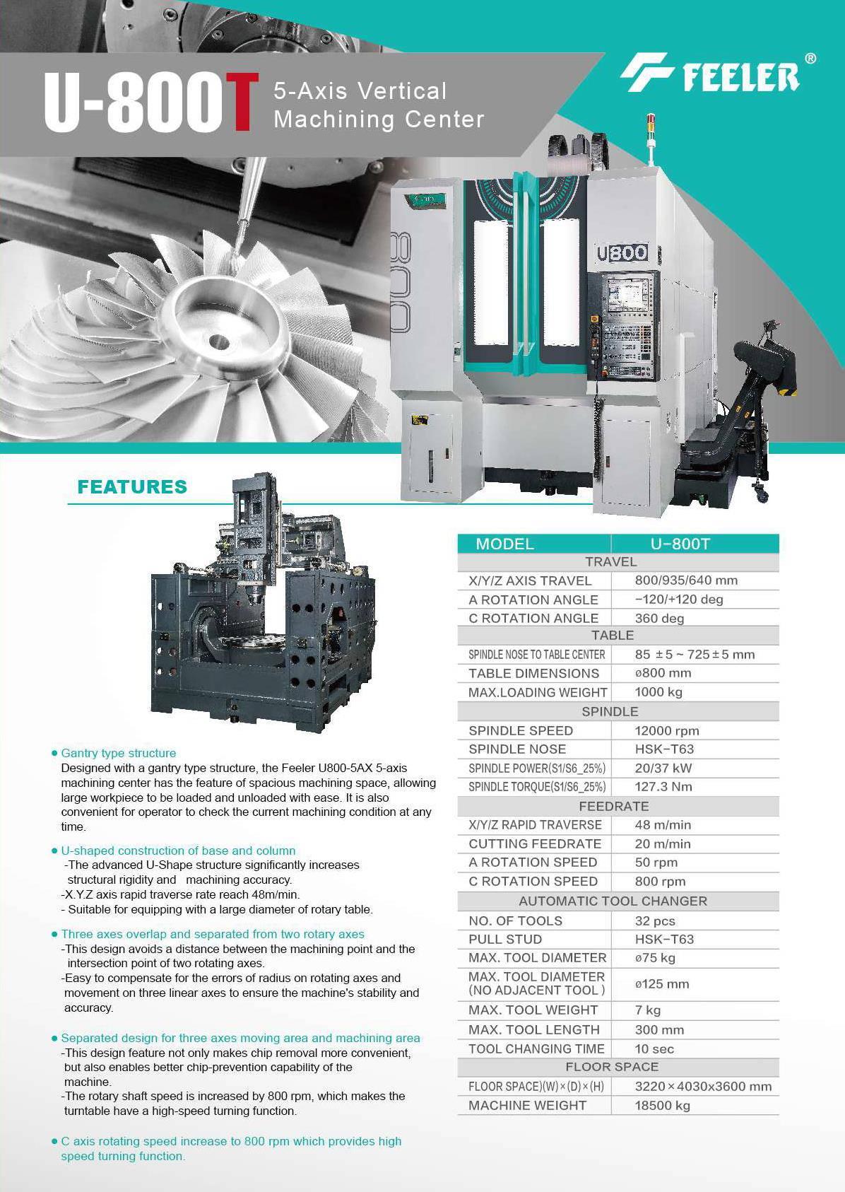 Feeler U800T CNC TDT