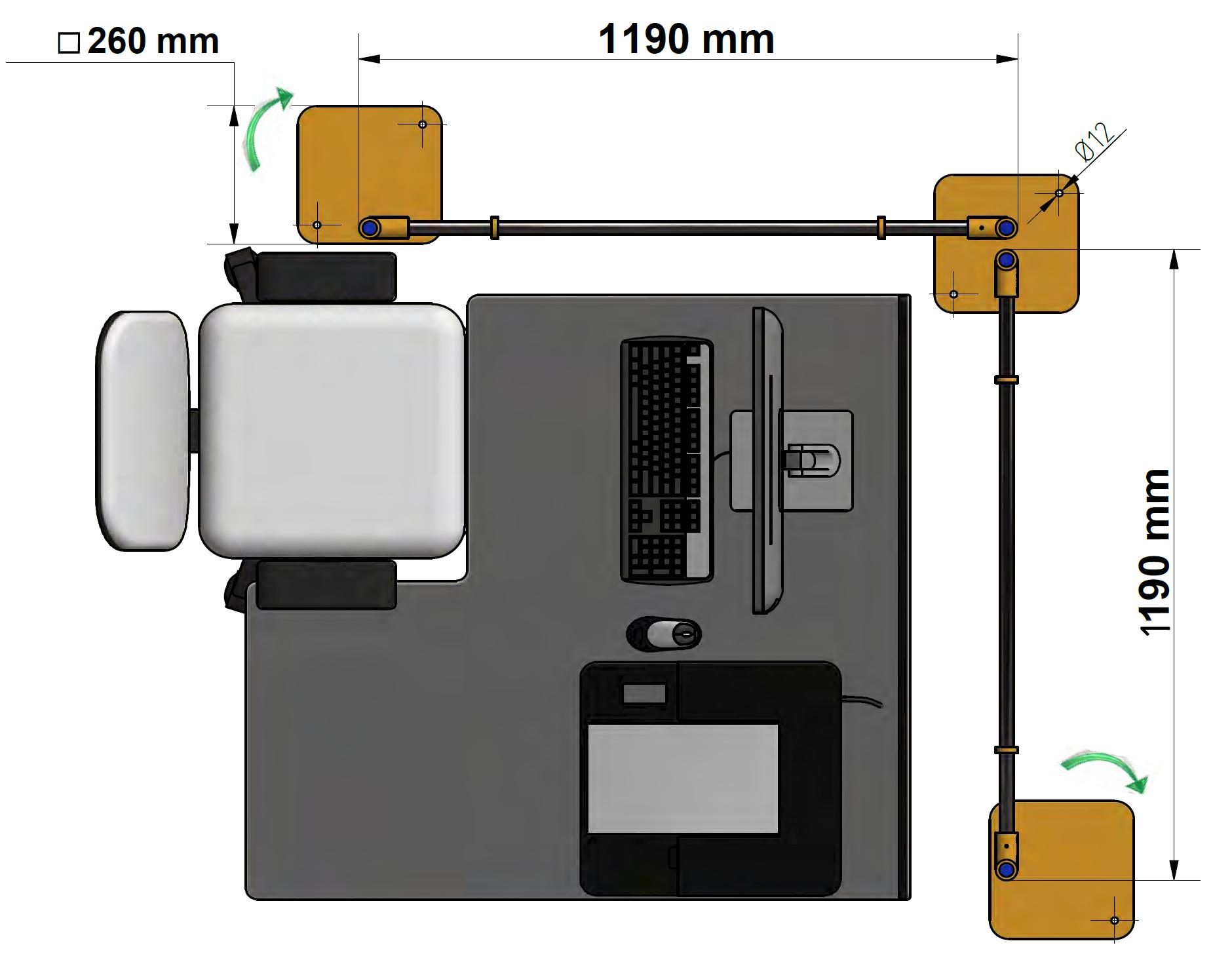 Covid protection Screen Corner PMA Dimensions 2