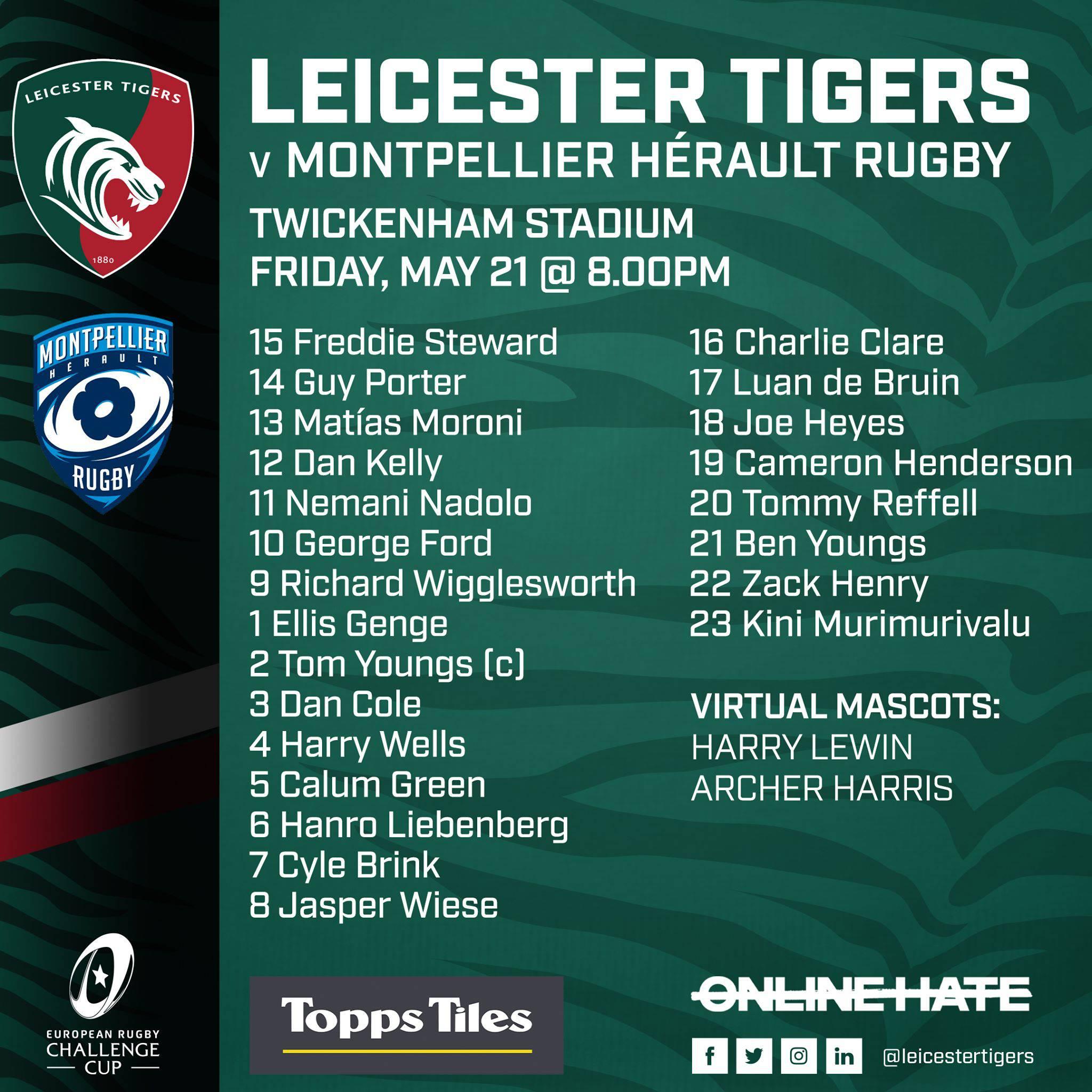 Tigers team sheet